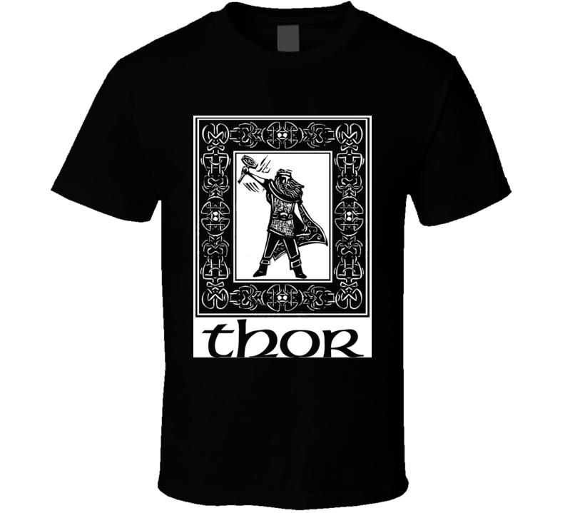 Thor Valhalla God of Thunder Vikings Danes Runes t-shirt