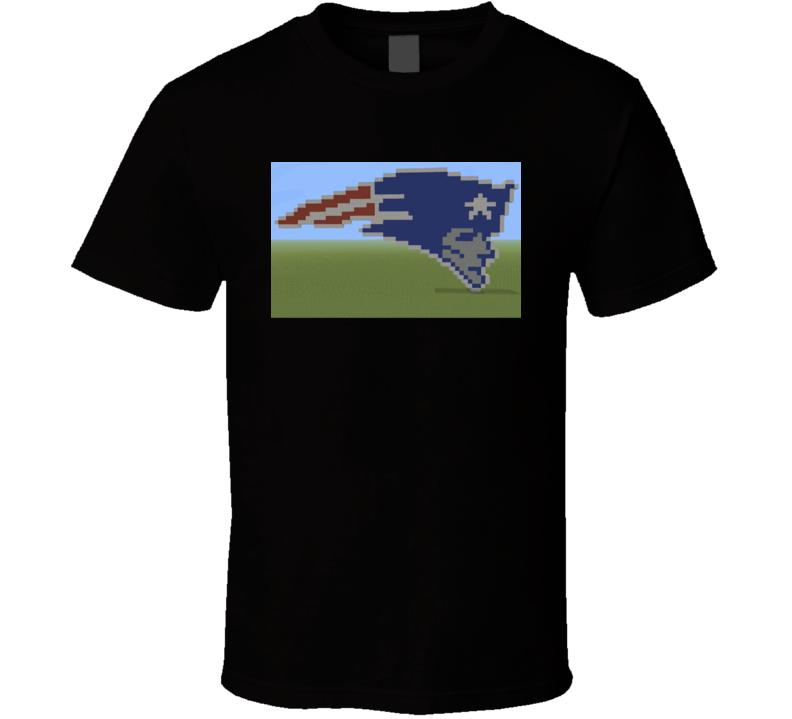 Patriots New England logo Minecraft style football super bowl fan t-shirt