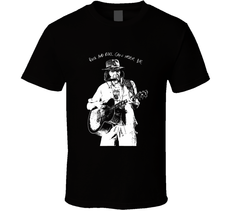Neil Young rock and roll legend rock and roll can never die concert style t-shirt