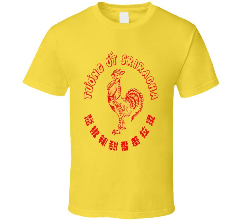 Sriracha hot sauce rooster sauce logo tuong ot spicy t-shirt