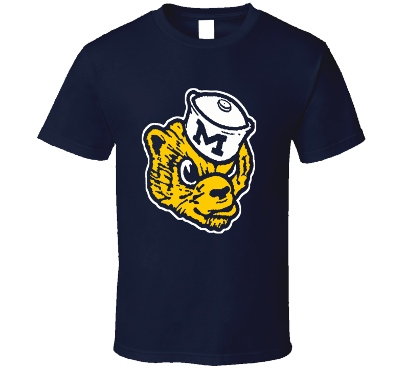 Michigan University Wolverine retro logo College football fan t-shirt