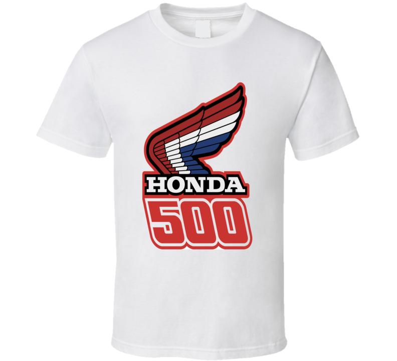 Honda 500 motorcycles logo racing wing motor sports fan t-shirt
