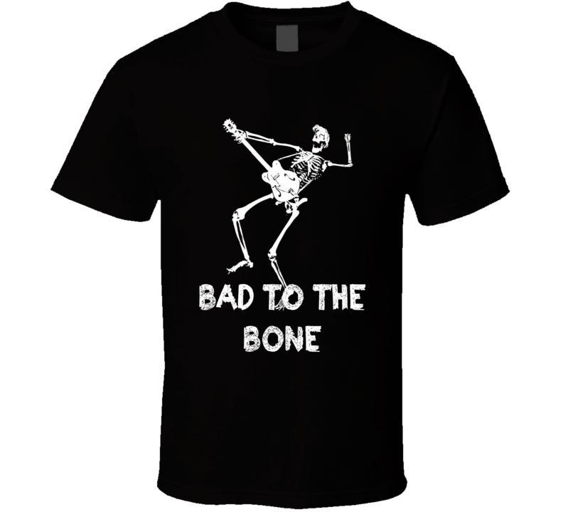 Bad to the Bone Skeleton Electric guitar rocker biker t-shirt