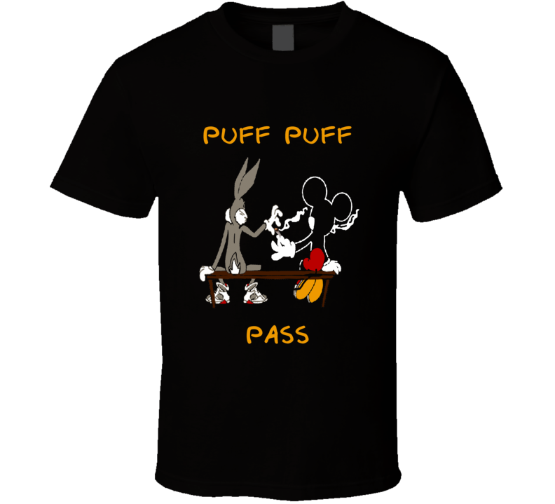 Bugs Bunny and Mickey passing blunt funny weed distressed style t-shirt.png