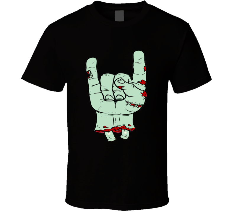 Rock On hand symbol classic concert zombie style music fan t-shirt