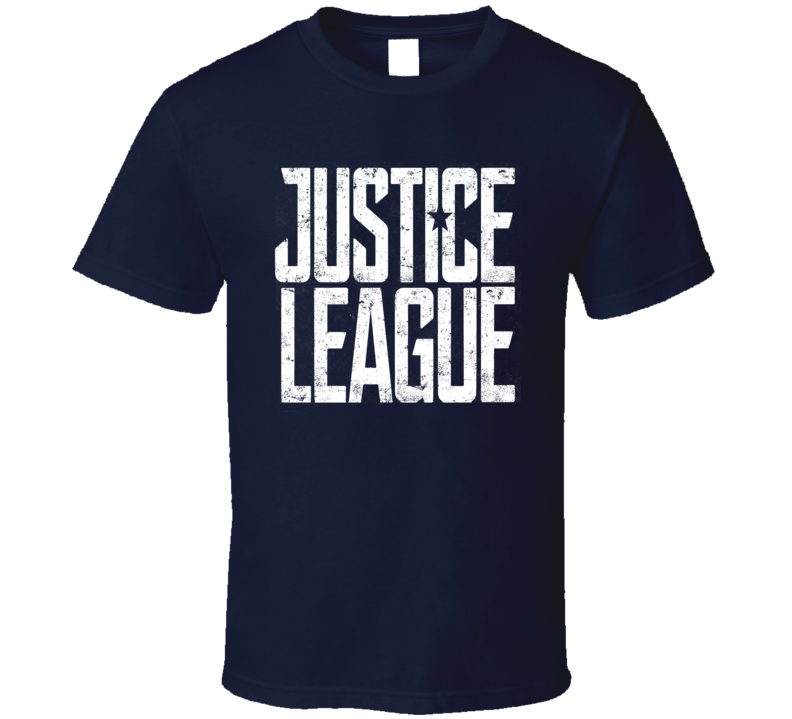 Justice League distressed logo super hero movie comics cartoon t-shirt