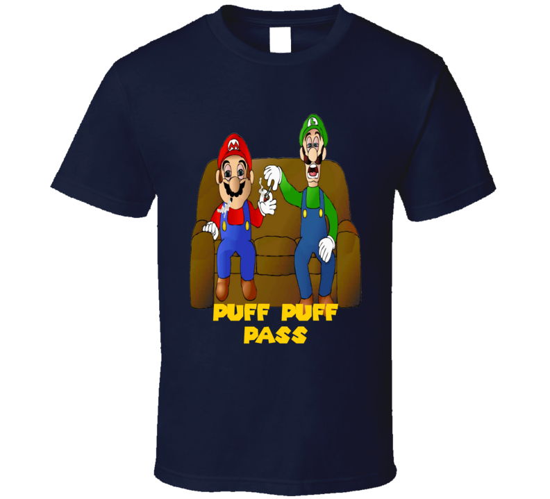 Mario and Luigi passing a joint weed puff puff pass 420 fan t-shirt