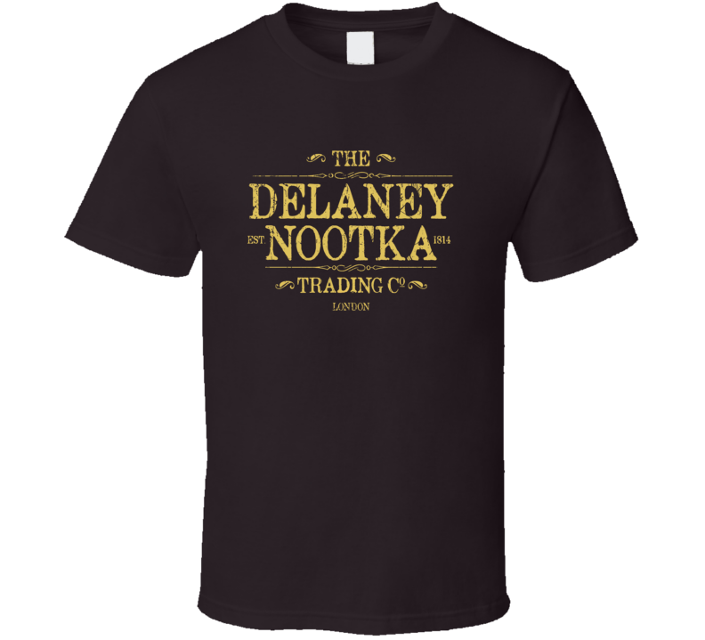 Taboo Tom Hardy TV series Delaney Nootka Trading co logo aged effect fan t-shirt