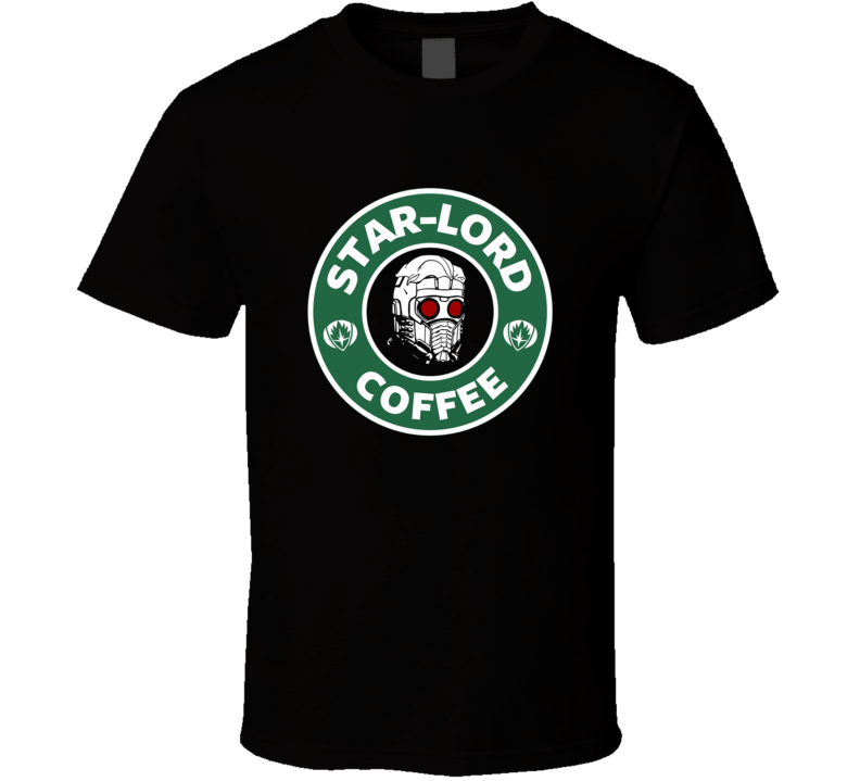 Star Lord Coffee Guardians of the Galaxy funny mash up logo t-shirt