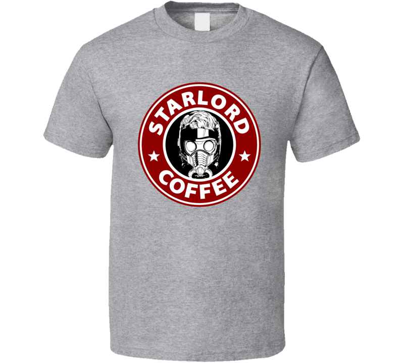 Star Lord Coffee Guardians of the Galaxy funny mash up logo t-shirt 2 red
