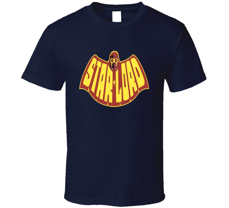 Star Lord cool batman cape retro cartoon comic style logo t-shirt