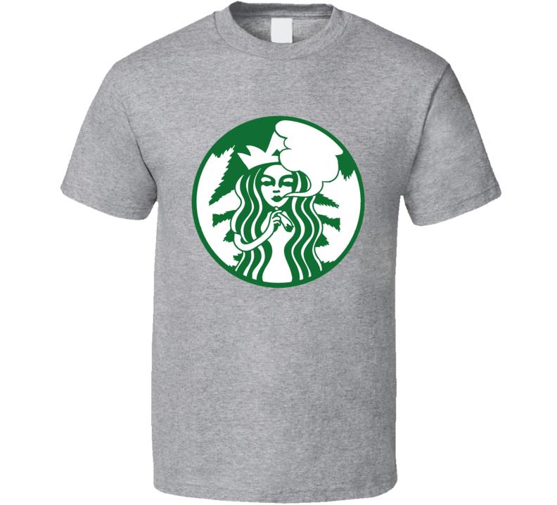 Starbucks logo mash up weed stoner joint smoking t-shirt