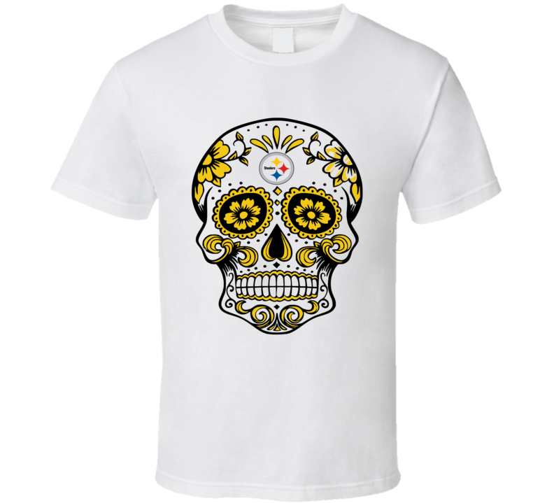Pittsburg Steeles Sugar Mask Skull logo fan t-shirt