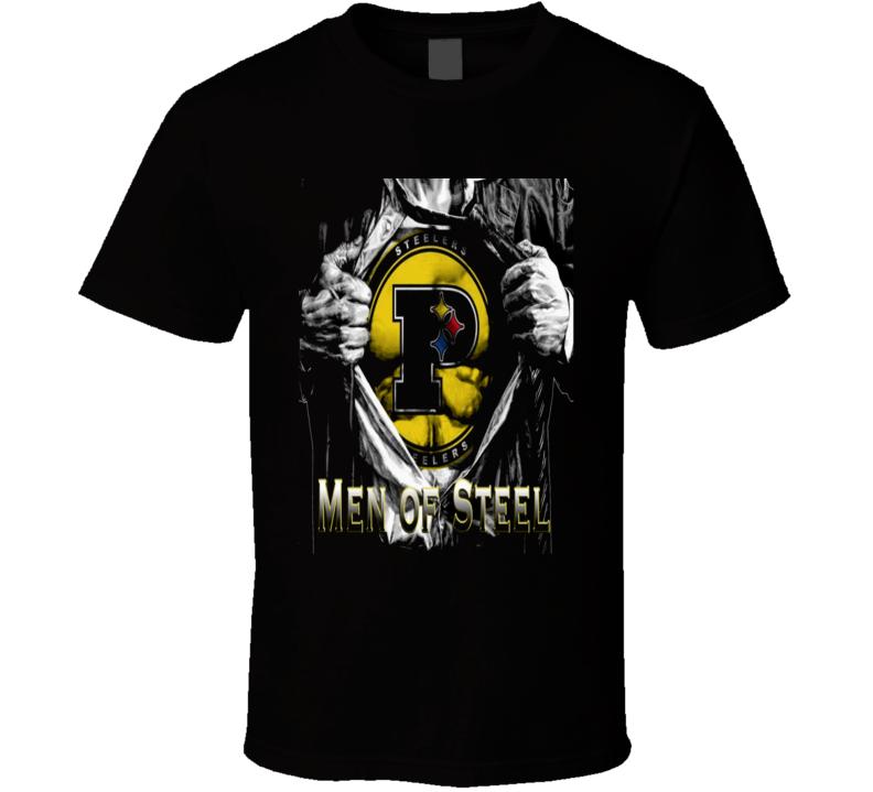 Steelers Men of Steel Pittsburg Superman theme rare fan t-shirt