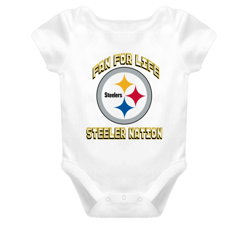 Steeler Nation fan for Life Pittsburg Steelers football fan baby one piece onesie