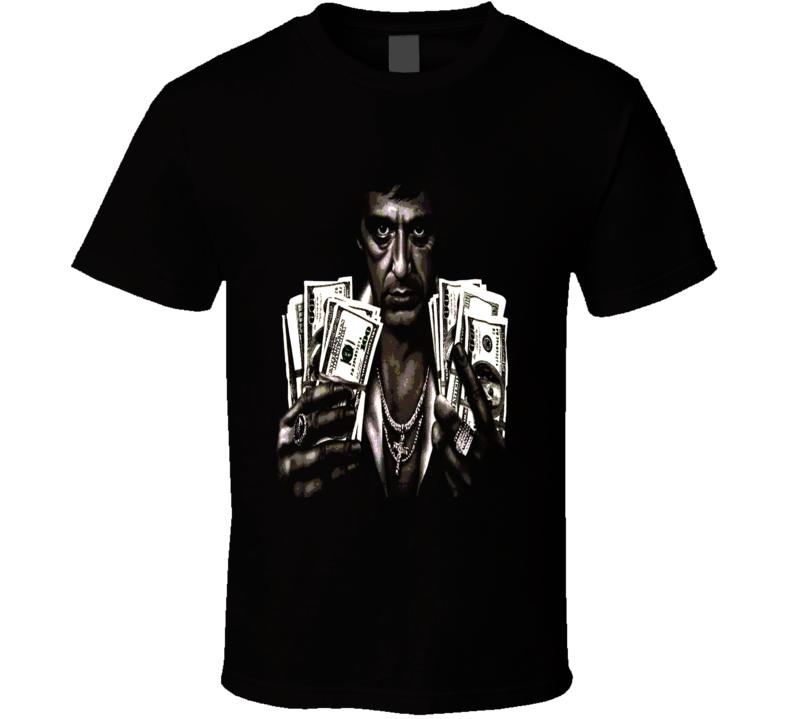 Tony Montana holding cash Scarface classic mob movie Pacino fan t-shirt.png