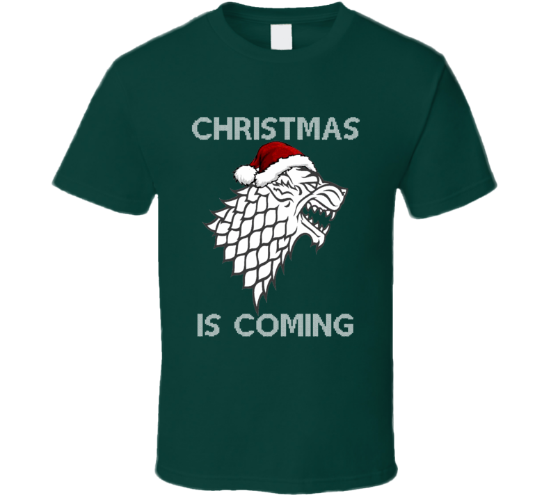GoT Christmas is Coming Stark Wolf Logo WIth Santa Hat T-Shirt