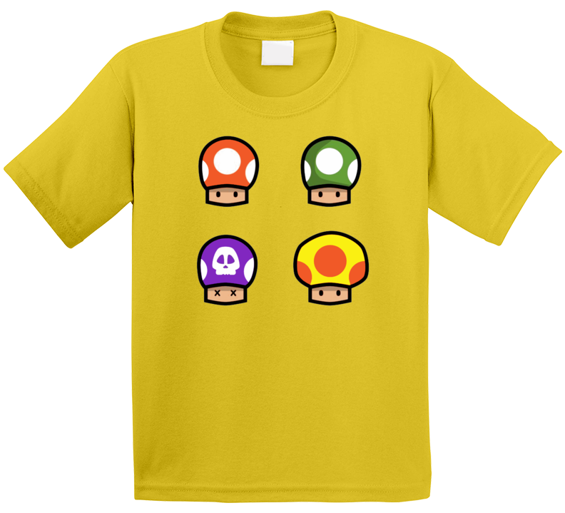 Super Mario Classic Video Game Mushrooms Gamer T-Shirt