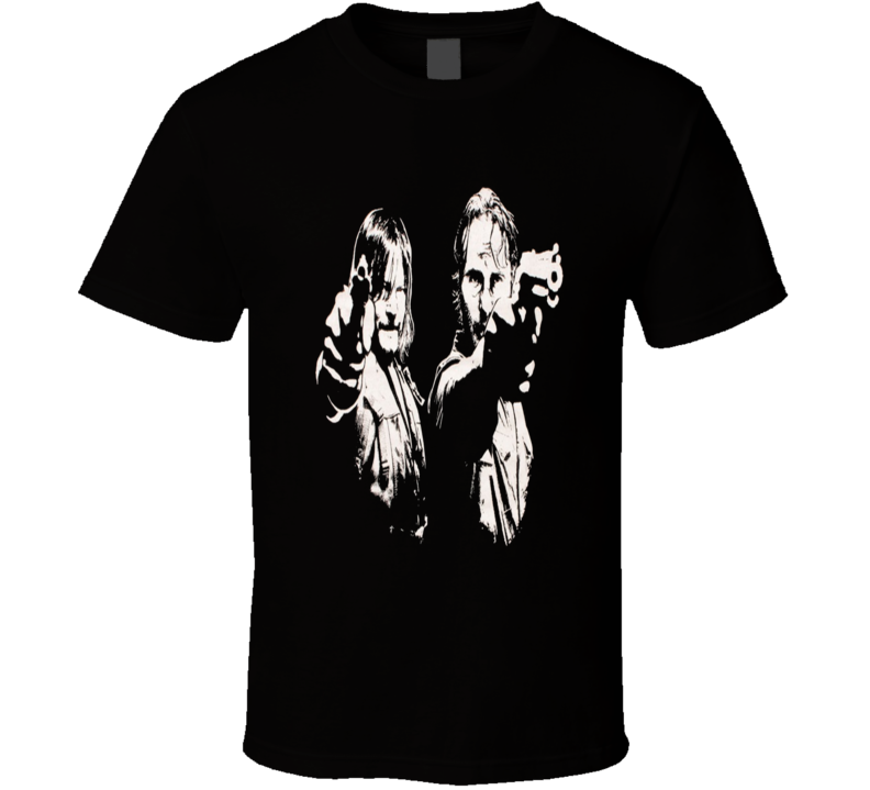 Rick and Daryl Pointing Gun Walking Dead TV Zombie Show T-Shirt