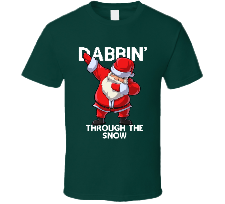 Santa Dabbing Through The Snow Ugly Sweater Style T-Shirt.png