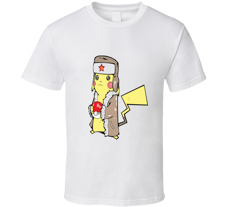 Soviet Pikachu with Poke Ball Pokemon Inspired T Shirt