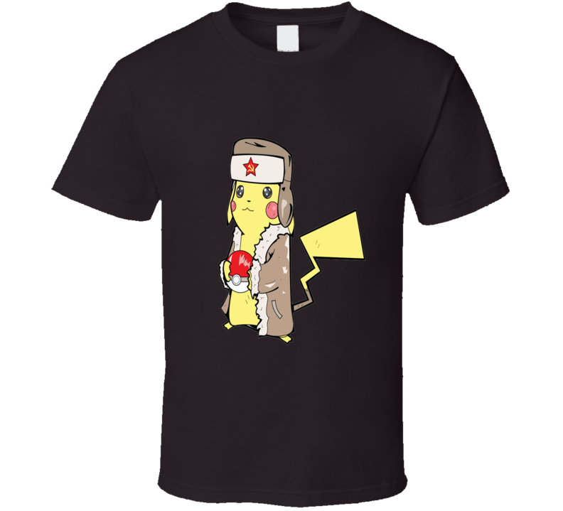 Soviet Pikachu with Poke Ball Pokeman Inspired 2 T Shirt