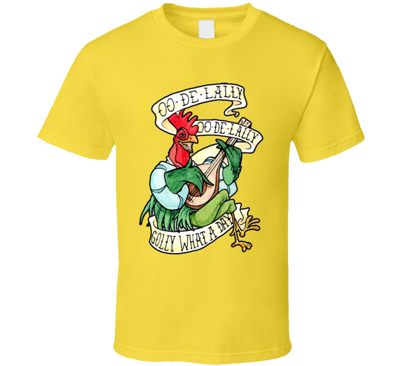 Singing Rooster Retro Style Golly What A Day T Shirt