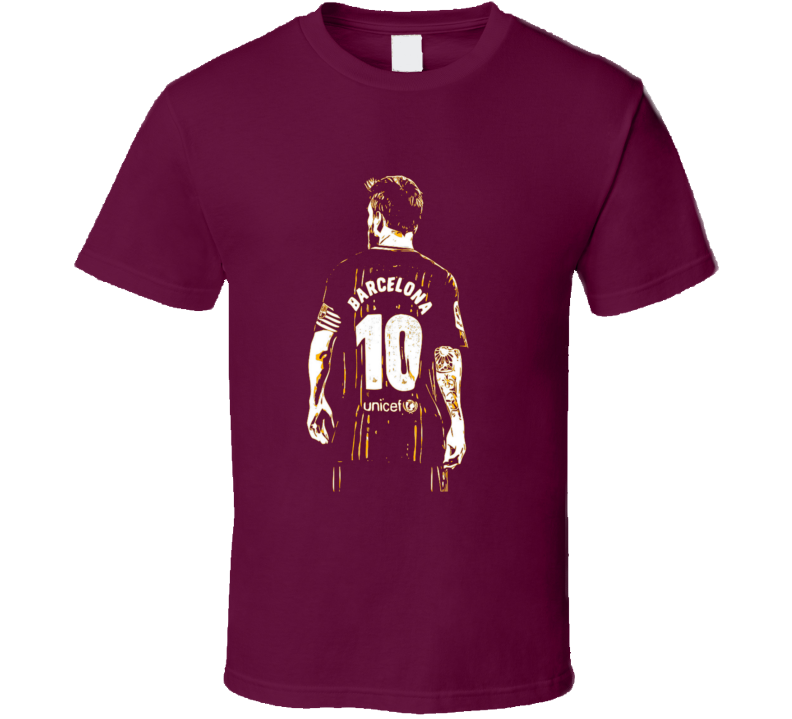 Lionel Messi Barcelona Fan Jersey Argentina 2 T Shirt