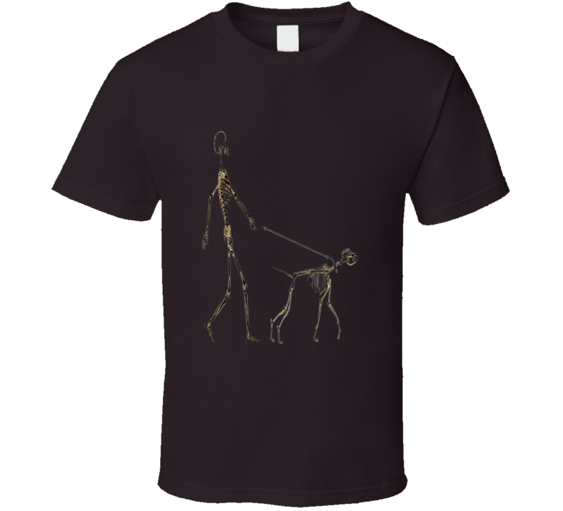 Skeleton Walking Dog Pet Lover Halloween Inspired T Shirt