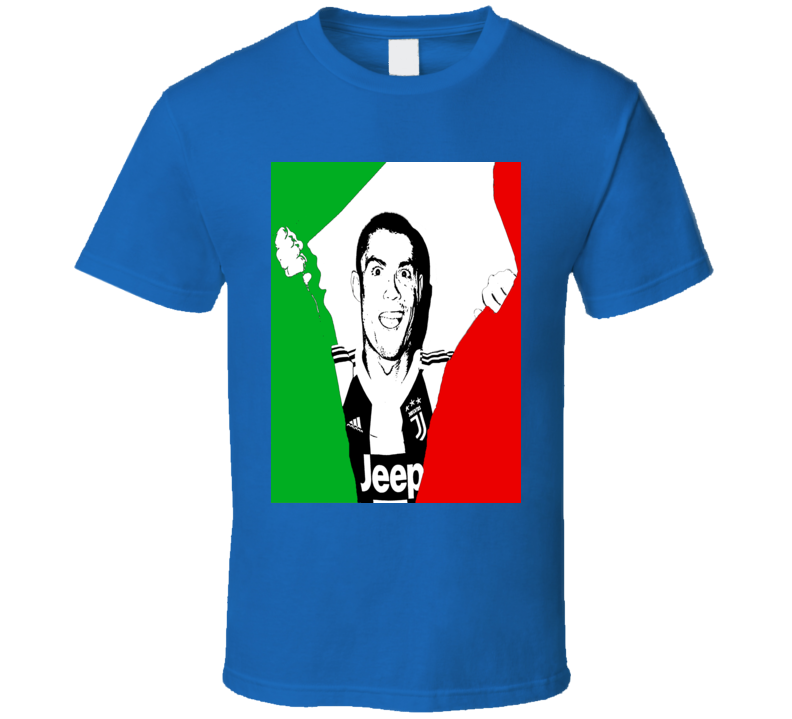 Cristiano Ronaldo Juventus Italian Flag Soccer Futbol Fan T Shirt