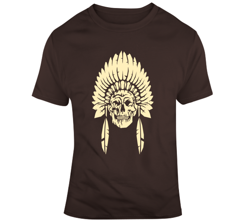 Native Indian Skull with Headdress Biker Style T Shirt