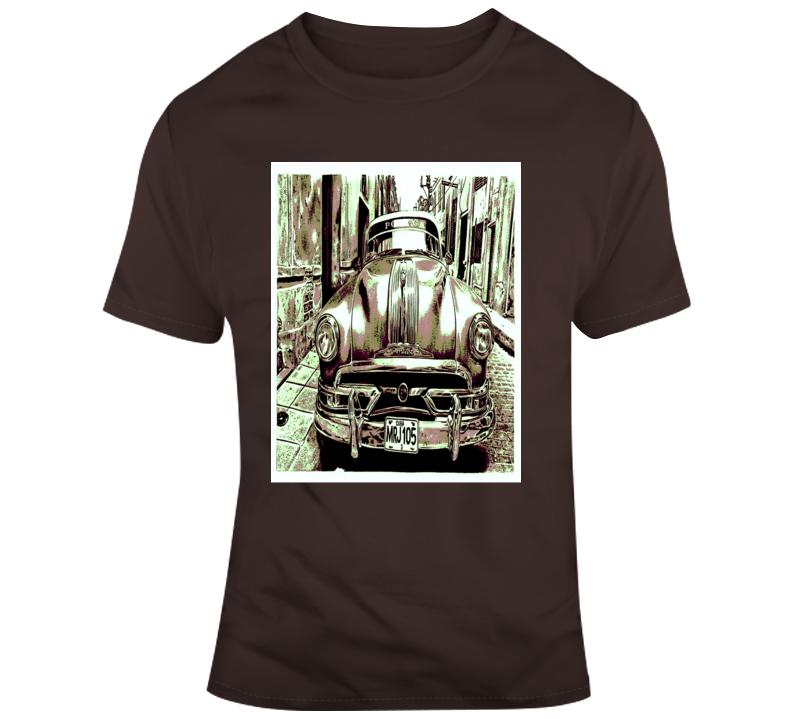 Classic Pontiac Distressed Car Poster Style Cuban Look T Shirt