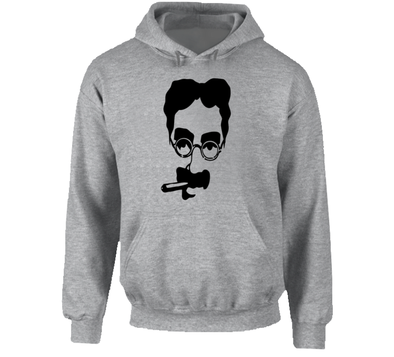 Groucho Marx with Cigar Huge Outline Style Retro Comedy Hoodie