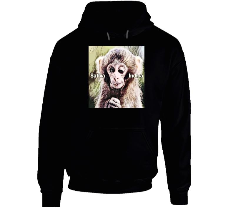 Stoner Weed Marijuana Stoned Monkey Satvia Indica Funny Hoodie