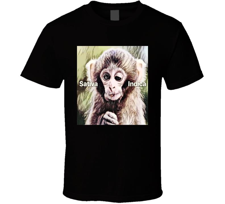 Stoner Weed Marijuana Stoned Monkey Satvia Indica Funny T Shirt
