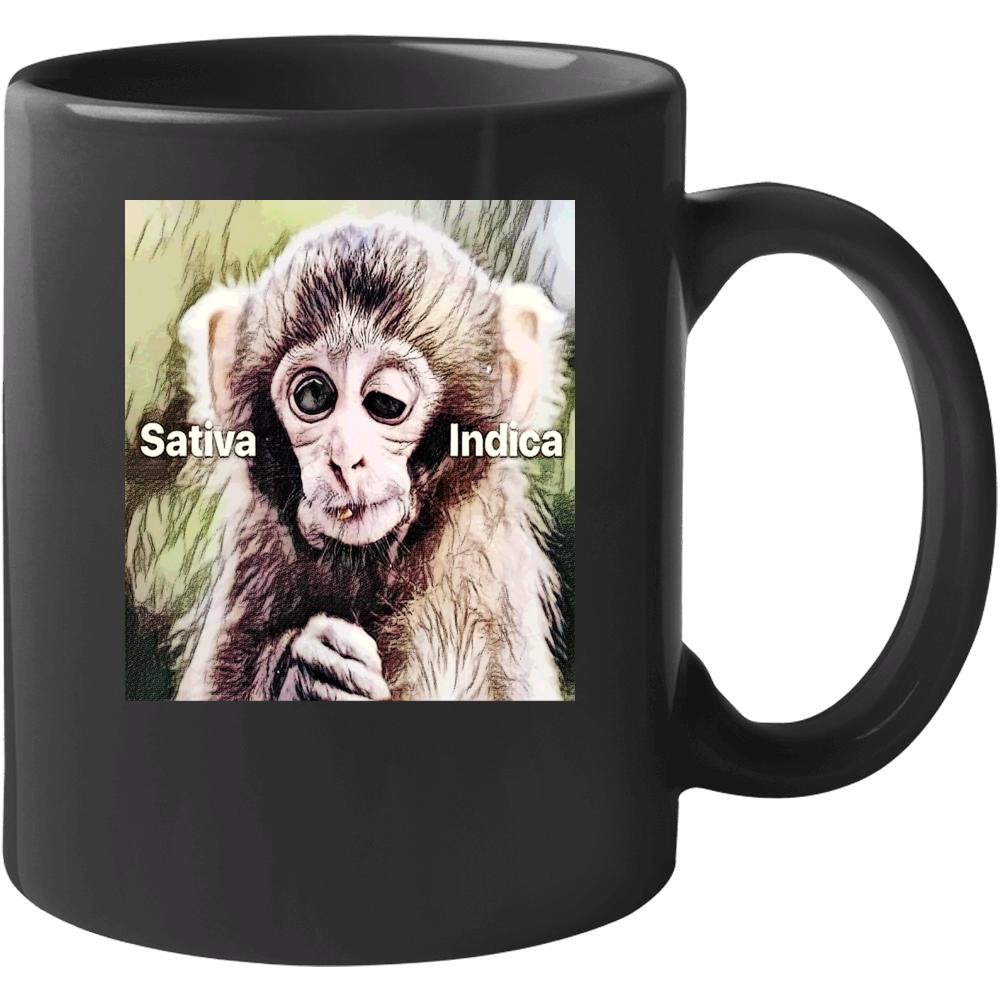 Stoner Weed Marijuana Stoned Monkey Satvia Indica Funny Mug
