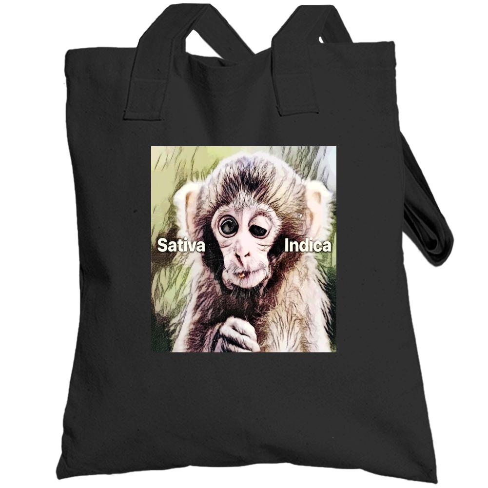 Stoner Weed Marijuana Stoned Monkey Satvia Indica Funny Totebag