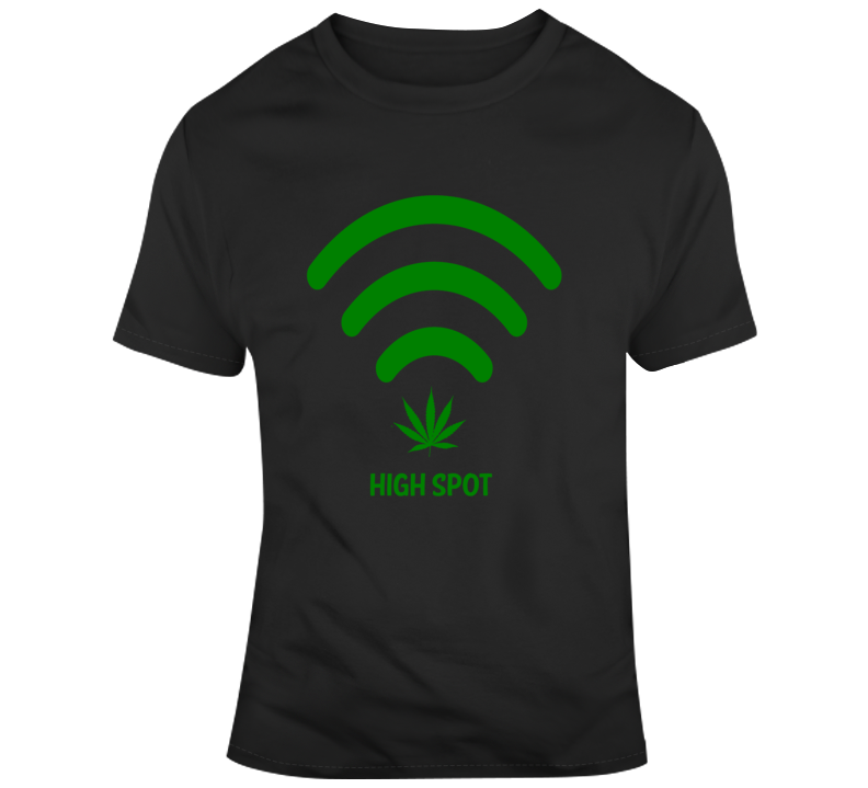 High Spot WiFi Cannabis Stoner Hot Spot Weed Smokers Funny T Shirt