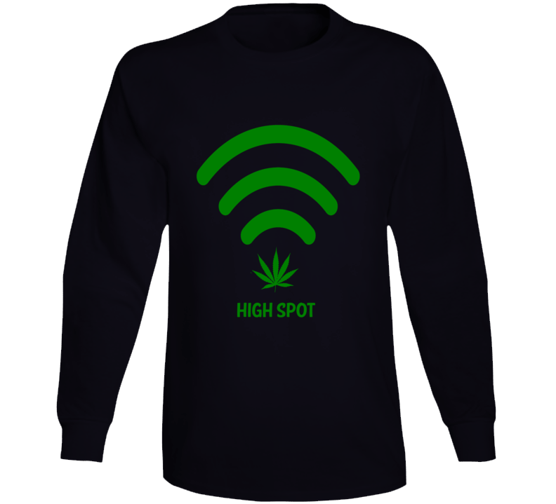 High Spot Wifi Cannabis Stoner Hot Spot Weed Smokers Funny Long Sleeve