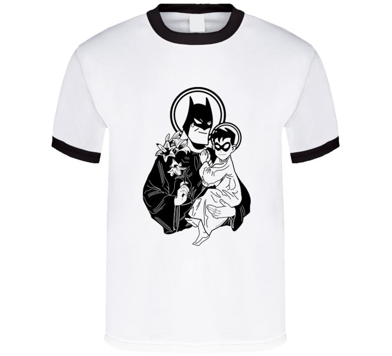 Holy Bat Man FUNNY Holy Mary  with Baby Robin cartoon t-shirt