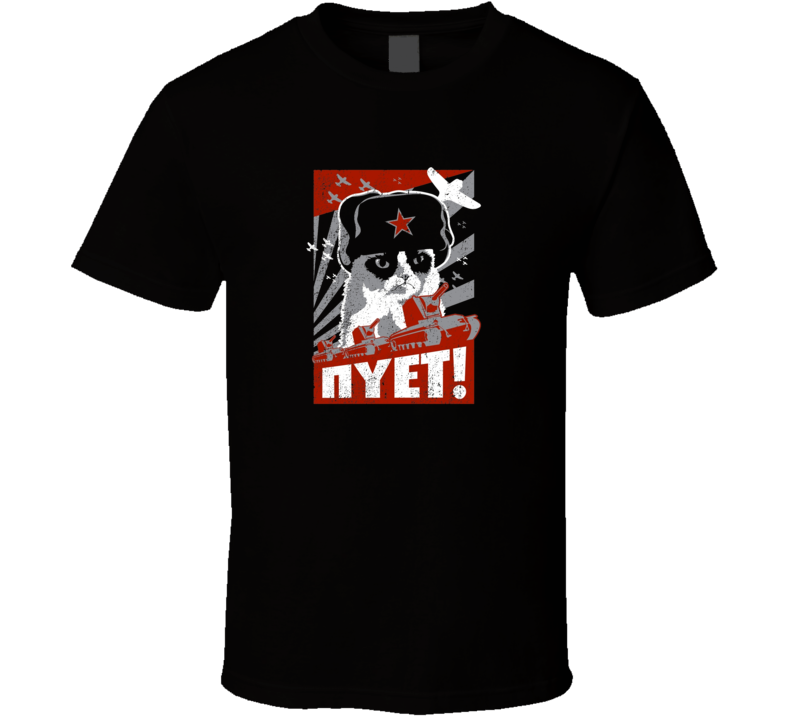 Grumpy Cat Neyt t-shirt Old style CCCP USSR propaganda poster style shirt