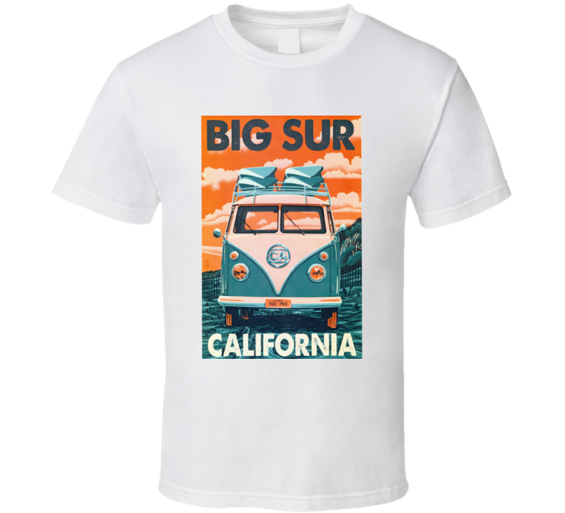 Big Sur California Surfer Retro Van Vw Vintage Cool T Shirt