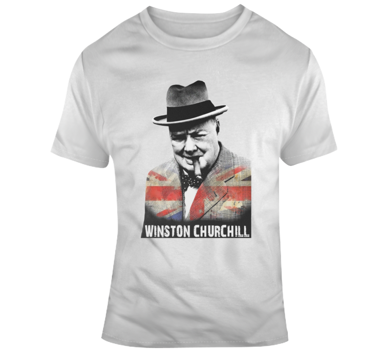 Winston Churchill Cigar Smoking British Prime Minister Political T Shirt