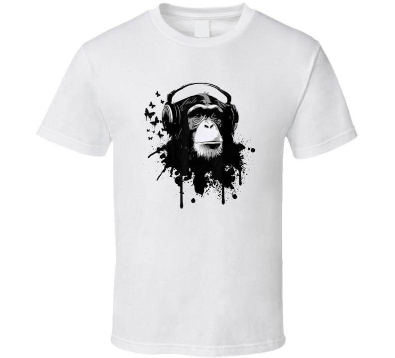 Monkey Wearing Headphones Music Funny T Shirt