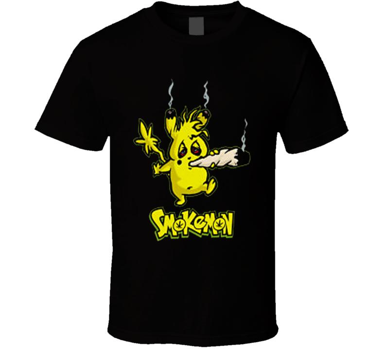 Stoner Pikachu Pokemon 420 Marijuana Tokemon Cartoon Funny Weed T Shirt