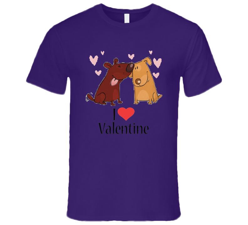 Dogs Love I love Valentine San Valentin day  T Shirt