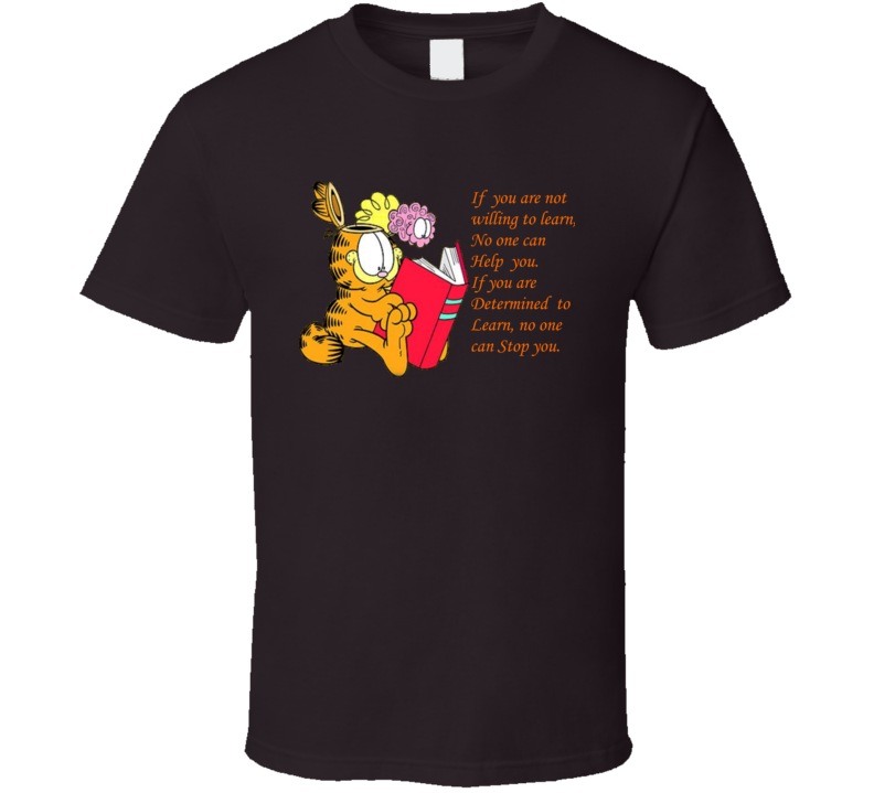 Garfield Cat Willing to Learn Brain Book Help Determined  T Shirt