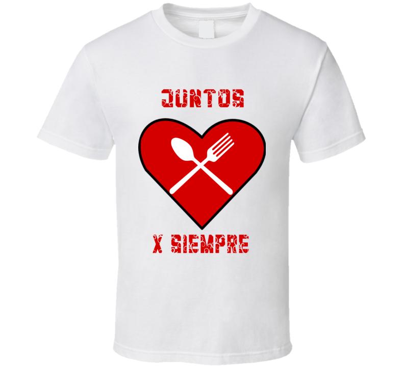 Juntos pr Siempre Corazon Tenedor Cuchara T Shirt