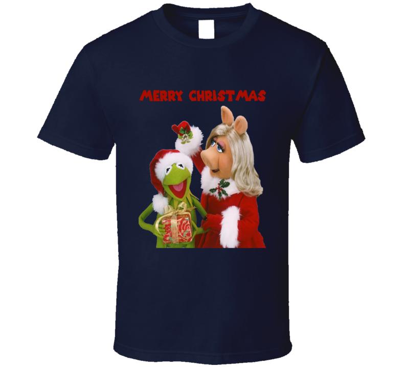 Merry Christmas Kermit Miss Peggy La Rana Rene Chanchita Piggy T Shirt