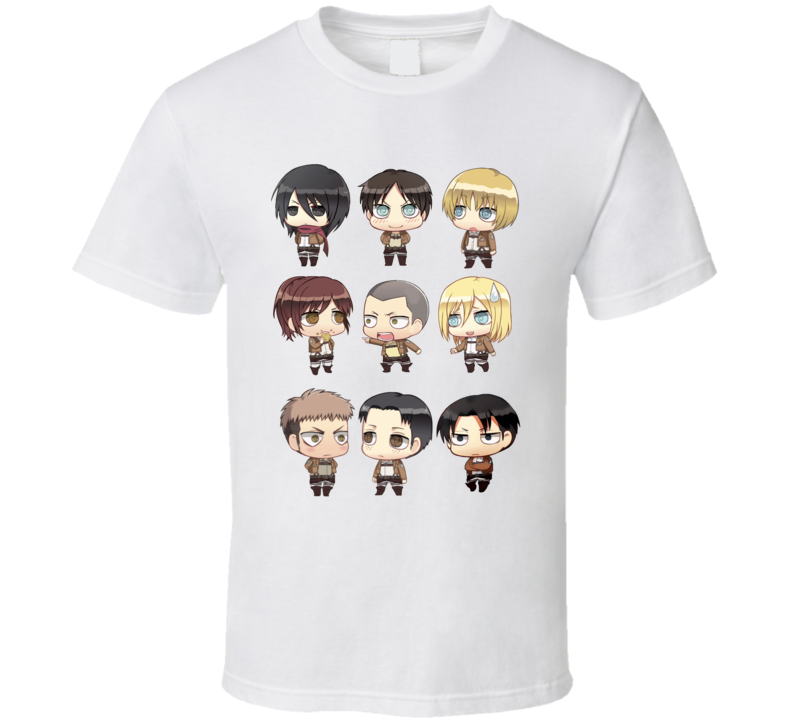 Attack On Titan Shingeki No Kyojin Chibi Characters Cute Kawaii Chibi  T Shirt